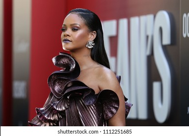 "NEW YORK - JUNE 5, 2018: Rihanna attends the premiere ""Ocean's 8"" at Alice Tully Hall on June 5, 2018, in New York City."