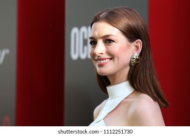 "NEW YORK - JUNE 5, 2018: Anne Hathaway attends the premiere ""Ocean's 8"" at Alice Tully Hall on June 5, 2018, in New York City."