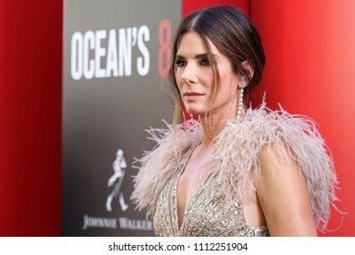 "NEW YORK - JUNE 5, 2018: Sandra Bullock attends the premiere ""Ocean's 8"" at Alice Tully Hall on June 5, 2018, in New York City."