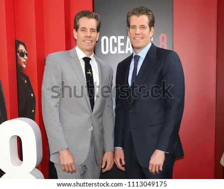 "NEW YORK - JUNE 5, 2018: Cameron Winklevoss and Tyler Winklevoss attend the premiere ""Ocean's 8"" at Alice Tully Hall on June 5, 2018, in New York City."
