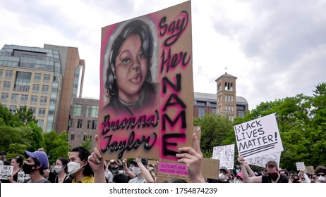 NEW YORK - JUNE 5, 2020: sign for Breonna Taylor with say her name at Black Lives Matter rally for George Floyd, peaceful protest in Washington Square Park, New York City, NYC.