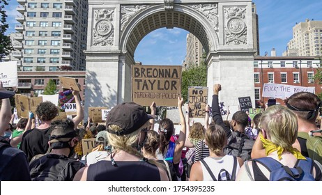 NEW YORK - JUNE 6, 2020: Breonna Taylor sign at Black Lives Matter rally in New York City NYC.