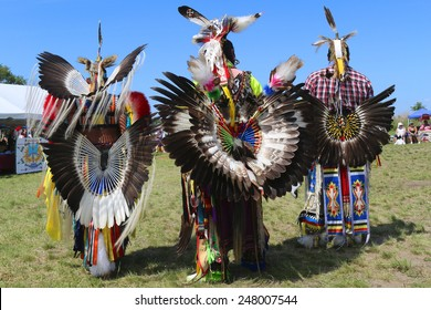 NEW YORK - JUNE 8, 2014: Unidentified male Native American dancers wears traditional Pow Wow dress with Dance Bustle during the NYC Pow Wow in Brooklyn