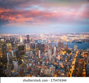 New York lights at dusk.