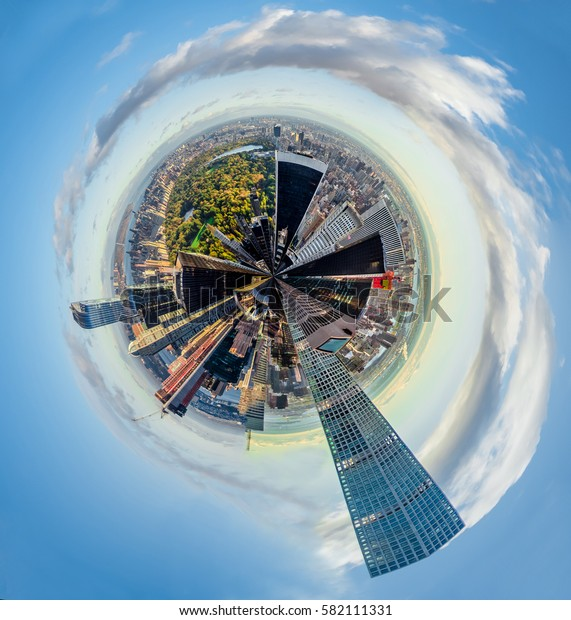 New York, Manhattan: Abstract presentation of Central park and surrounding skyscrapers in form of a little planet