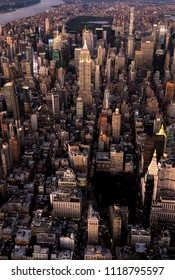 New York Manhattan Aerial Photography with Time Square, Flatiron and Empire State Building View at Sunset