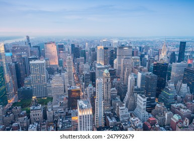 New York. Manhattan aerial skyline at dusk.
