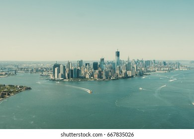 New York Manhattan island landscape view from helicopter.