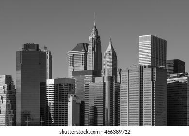 New York Manhattan Skyline black and white