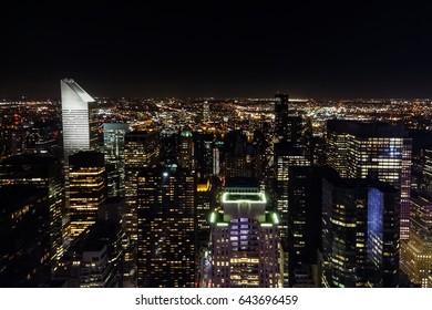New York Manhattan skyline at night view skyscraper lights