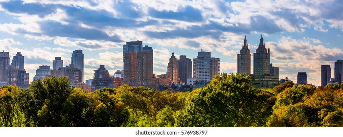 New York Manhattan skyline panorama seen from Central Park in October 2016