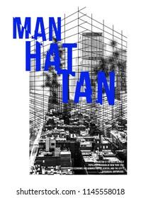 new york manhattan t shirt vintage geometric