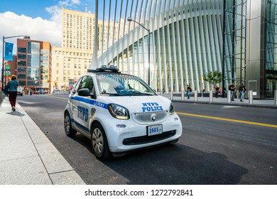 New York, Manhattan / USA - 09/29/2018 :NYPD Smart Fourtwo outside the 911 Memorial Museum