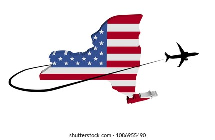 New York map flag with plane silhouette and swoosh 3d illustration