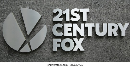 NEW YORK - MARCH 10, 2016:21st Century Fox logo in New York. 21st Century Fox is the world' s premier portfolio of cable, broadcast, film, pay TV and satellite spanning six continents across the globe