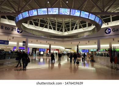 NEW YORK- MARCH 12, 2019: Inside of JetBlue Terminal 5 at John F Kennedy International Airport in New York