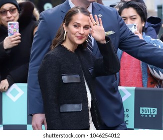 NEW YORK - MARCH 14, 2018: Alicia Vikander is seen on March 14, 2018, in New York City.