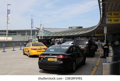 NEW YORK- MARCH 14, 2019: JetBlue Terminal 5 at John F Kennedy International Airport in New York. JFK is one of the biggest airports in the world with 4 runways and 8 terminals