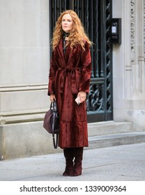 NEW YORK - MARCH 14: Nicole Kidman is seen filming 'The Undoing' on March 14, 2019 in New York City.