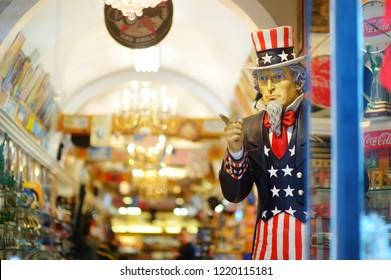 NEW YORK - MARCH 15, 2015: Uncle Sam peeking from souvenir shop in downtown Manhattan, New York, USA.