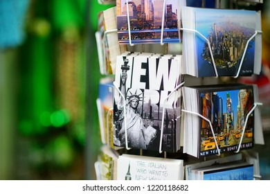 NEW YORK - MARCH 15, 2015: Various postcards from New York displayed at souvenir shop in downtown Manhattan, New York, USA.