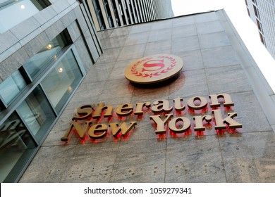 New York, March 15, 2018: Sheraton Hotel logo on exterior of their hotel in midtown Manhattan.