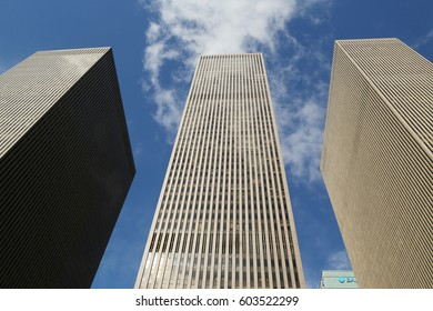 NEW YORK - MARCH 16, 2017: Skyscrapers of the 6th avenue or Avenue of the Americas in Manhattan