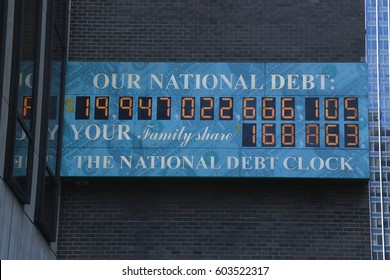 NEW YORK  - MARCH 16, 2017: View of the National Debt Clock in Midtown Manhattan. The clock shows gross national debt and each family's share of that debt