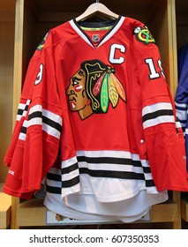 NEW YORK - MARCH 16, 2017: The Chicago Blackhawks jersey on display at NHL store in Midtown Manhattan.