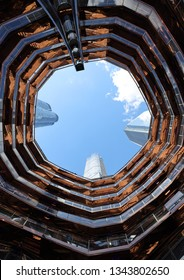 NEW YORK - MARCH 19, 2019: The Vessel, the centerpiece of the Public Square and Gardens at Hudson Yards, opened on Manhattan's West Side. The elaborate honeycomb-like structure rises 16 stories