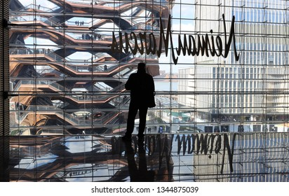 NEW YORK - MARCH 19, 2019: The Vessel, the centerpiece of the Public Square and Gardens at Hudson Yards. The view from the Shops at Hudson Yards shopping mall