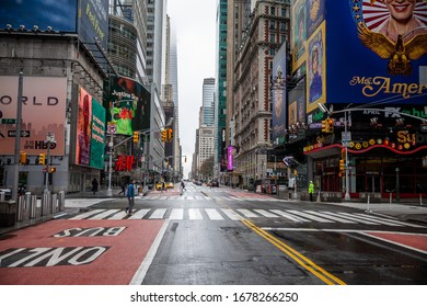 NEW YORK, NEW YORK - MARCH 19, 2020: Popular tourist destinations Times Square and 42nd Street are very quiet due to health concerns.