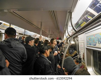NEW YORK - MARCH 2017:  New York subways are efficient but become unpleasantly crowded at peak times, as seen in Manhattan in 2017.