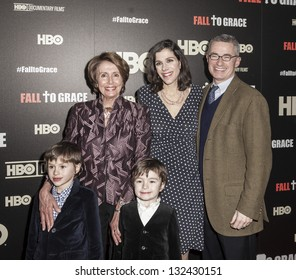 NEW YORK - MARCH 21: Congresswoman Nancy Pelosi, Alexandra Pelosi, Jim McGreevey, Thomas & Paul Vos  attend premiere HBO documentary Fall to Grace at Time Warner Center on March 21, 2013 in New York