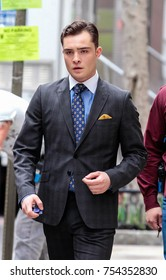 NEW YORK - MARCH 21: Ed Westwick seen on set of 'Gossip Girl' on March 21, 2012 in New York City.