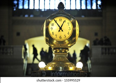 NEW YORK, March, 21st, 2013. Clock over the information booth in the middle of the great hall in Grand Central Terminal - New York on March, 21st.