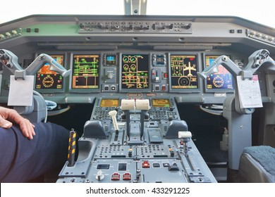 NEW YORK - MARCH 22, 2016: inside of Embraer 190. The Embraer E-Jet family is a series of narrow-body medium-range twin-engine jet airliners produced by Brazilian aerospace conglomerate Embraer.