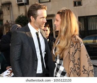 NEW YORK - MARCH 22, 2018:  Blake Lively and Ryan Reynolds are seen on March 22, 2018, in New York City.