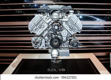 NEW YORK - March 23: A Genesis 5.0L V8 engine exhibit at the 2016 New York International Auto Show during Press day,  public show is running from March 25th through April 3, 2016 in New York, NY.