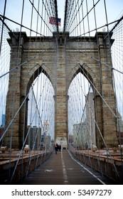 NEW YORK - MARCH 26: Jane Doe and John Doe, at Brooklyn Bridge March 26, 2010 in New York.