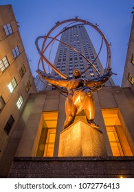 New York, New York - March 29, 2018: Details of the Atlas statue at Rockefeller Center. The Rockefeller Center is one of the most famous office complexes in the world and a major tourist attraction.