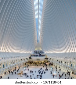 New York, New York - March 30, 2018: Interior of the Oculus part of the transportation hub at the World Trade Center. The station was designed by Santiago Calatrava.