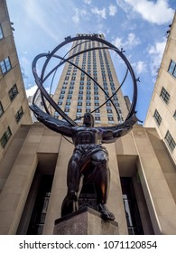 New York, New York - March 30, 2018: Details of the Rockefeller Center in New York City. The Rockefeller Center is one of the most famous office complexes in the world and a major tourist attraction.