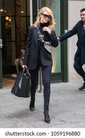 NEW YORK - MARCH 30: Rosie Huntington-Whiteley is seen at her hotel on March 30, 2018 in New York City.
