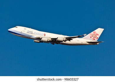 NEW YORK - MARCH 8: Boeing 747 China Airline climbs from JFK airport in New York, USA on March 8, 2012. is the flag carrier of the Republic of China - commonly known as Taiwan