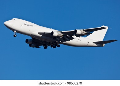 NEW YORK - MARCH 8:Boeing 747 Kalitta approaches JFK in New York, USA on March 8, 2012 Kalitta provides domestic and international scheduled cargo service and support for US Department of Defense