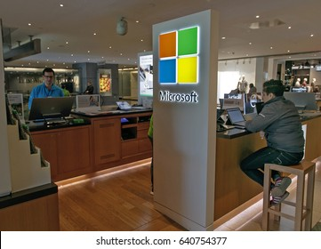 New York, May 08, 2017: People are using computers at a Microsoft retail stand in Time Warner Center.