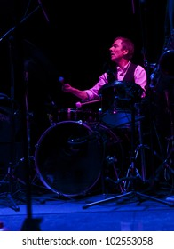 NEW YORK - MAY 09: Dougie Bowne drums of Dougie Bowne's Peninsula band performs as part of NYC Undead Jazz Festival at Le Poisson Rouge on May 09, 2012 in New York City