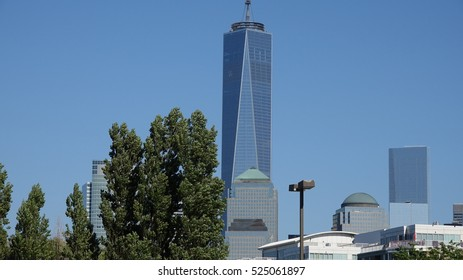 NEW YORK, NEW YORK MAY 1 2014: Freedom Tower And Offices on May 1 2014 in New York New York