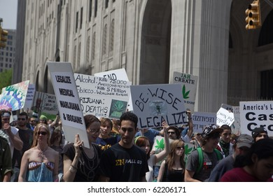 NEW YORK - MAY 1: protesters at the pro-marijuana march on May 1, 2010 in New York City
